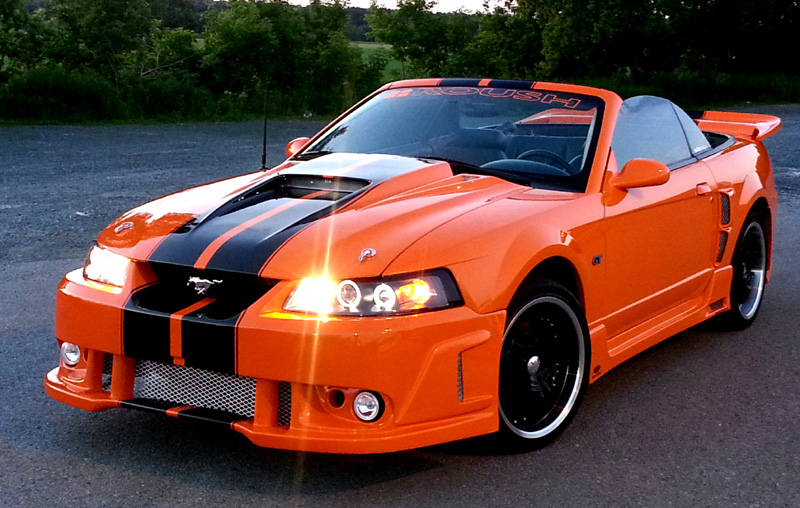 99-04 Mustang SPIDER X9 (Black Spider) Hood (Fiberglass) A14 by Trufiber (3 INCH RISE)