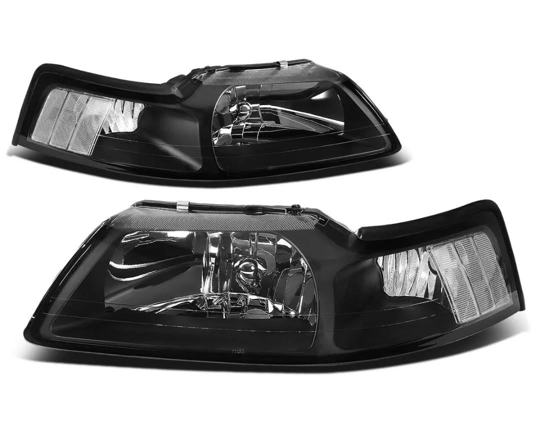 99-04 Mustang Headlights - BLACK - No amber (Pair) Clear Reflector