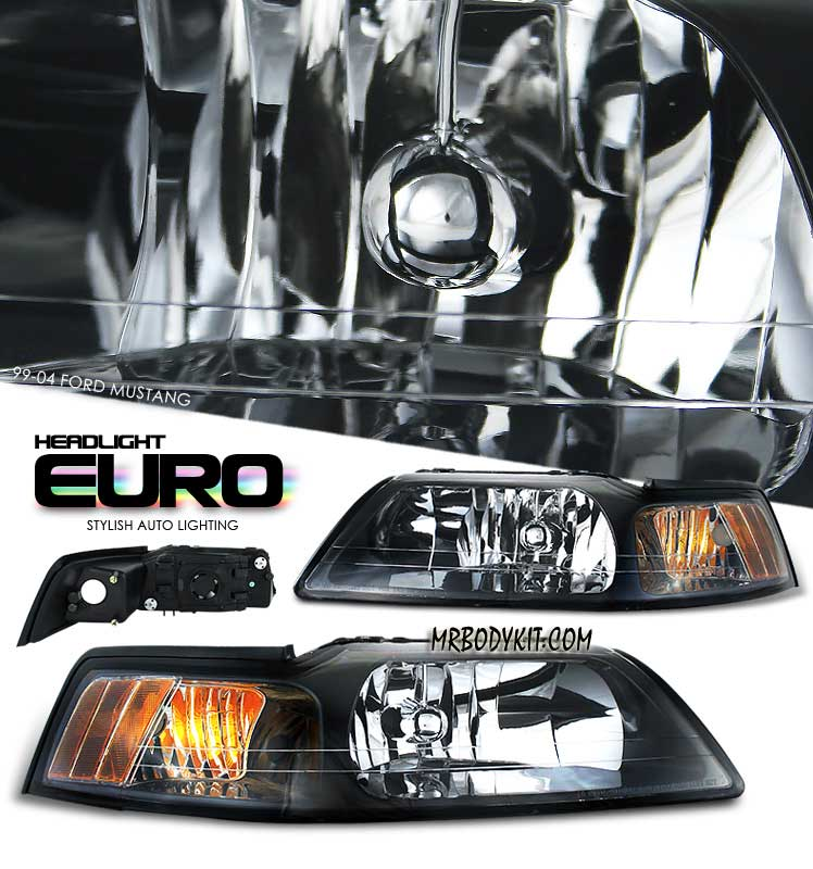 99-04 Mustang Headlights - BLACK Housing With Amber (Pair)