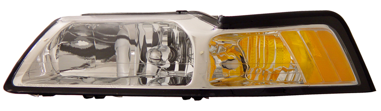 99-04 Mustang Headlights - CHROME Housing With Amber (Pair)