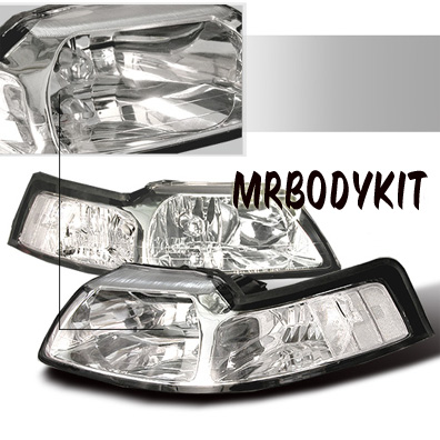99-04 Mustang Headlights - CHROME - No amber (Pair) Clear Reflector