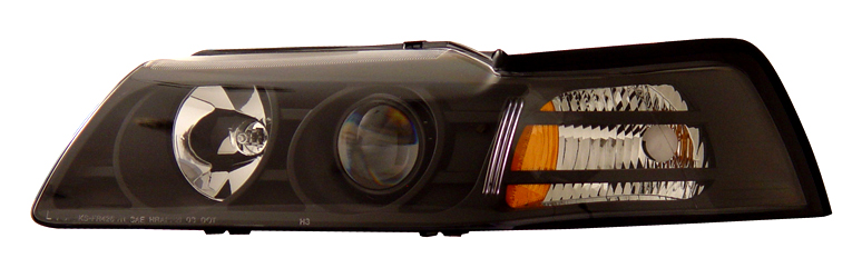 99-04 Mustang Headlights PROJECTOR GEN 1 - BLACK (Pair)