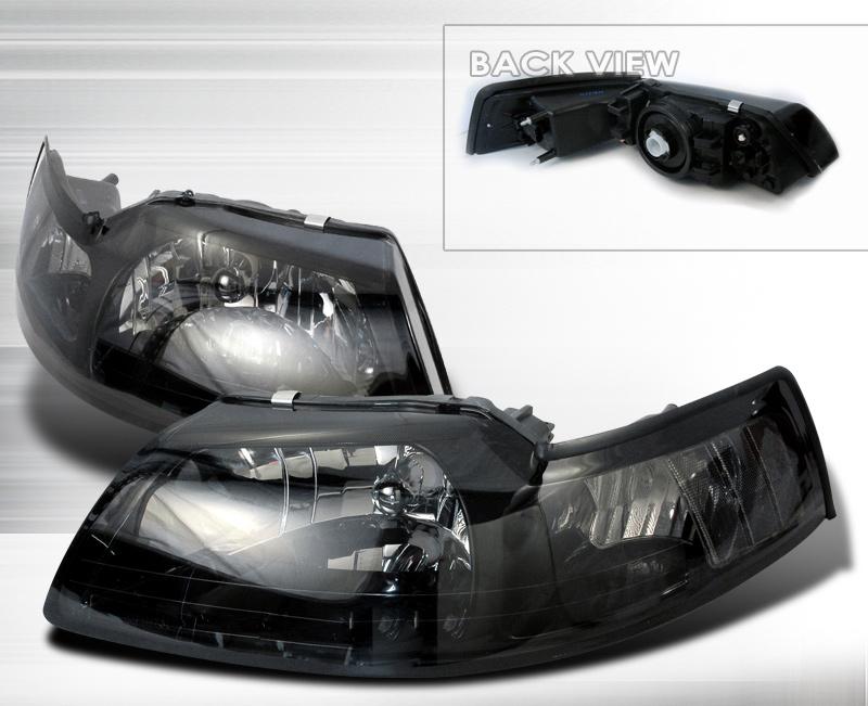 99 04 Mustang Headlights Smoked Lens No Amber Pair Clear Reflector Larger Image