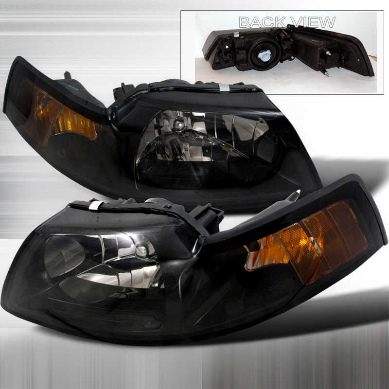 99-04 Mustang Headlights - SMOKED Lens With Amber (Pair)