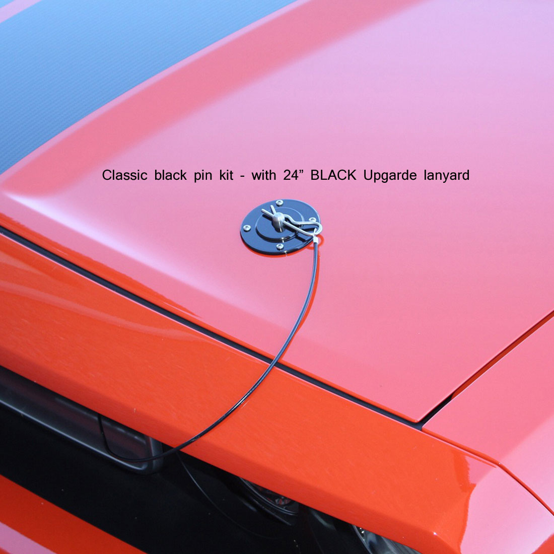 79-2014 Mustang & Universal Fit SALE Hood Pin Kit Classic Style W/Lanyard - Black (NO DRILLING)