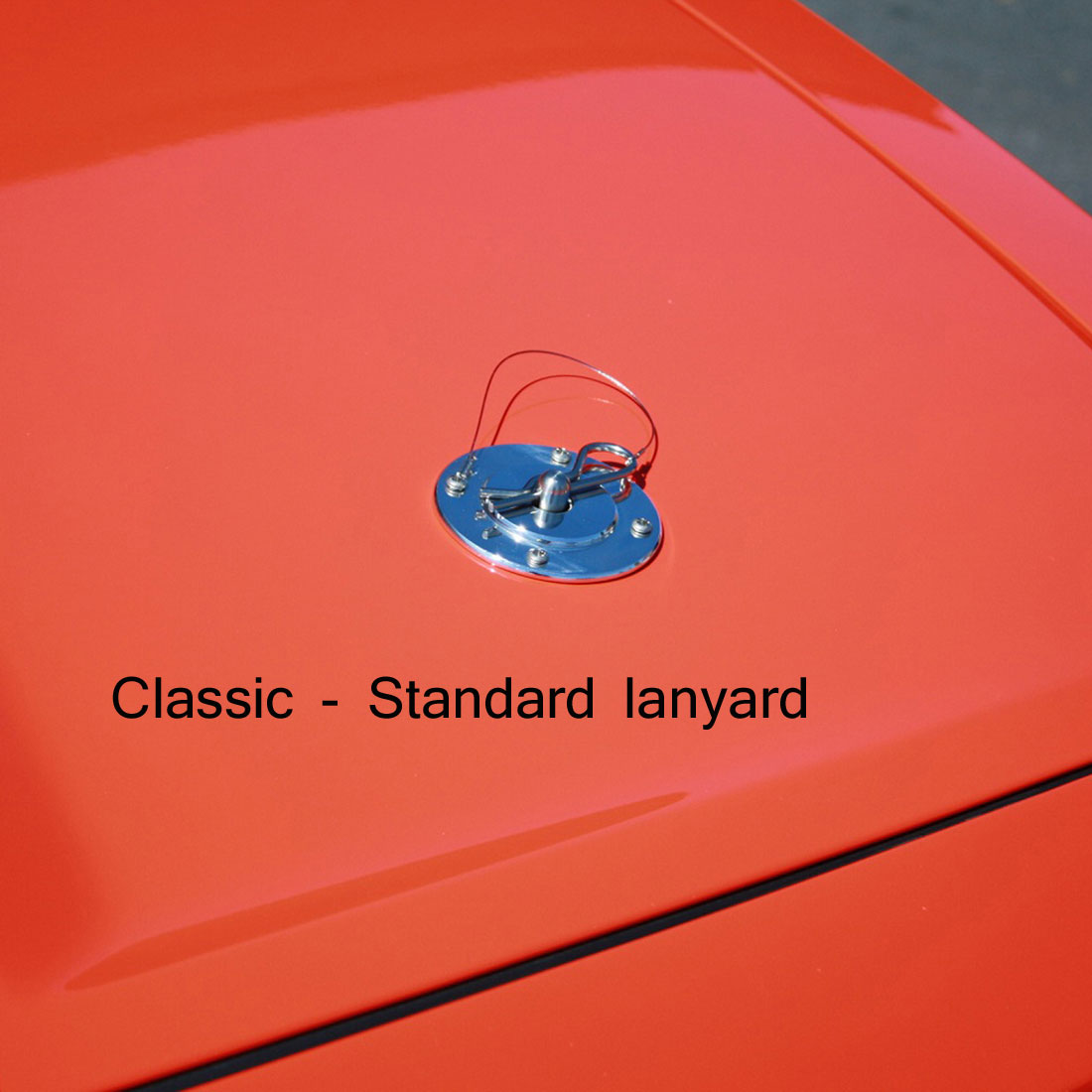 79-2014 Mustang & Universal Fit SALE Hood Pin Kit Classic Style W/Lanyard - Polished (NO DRILLING)