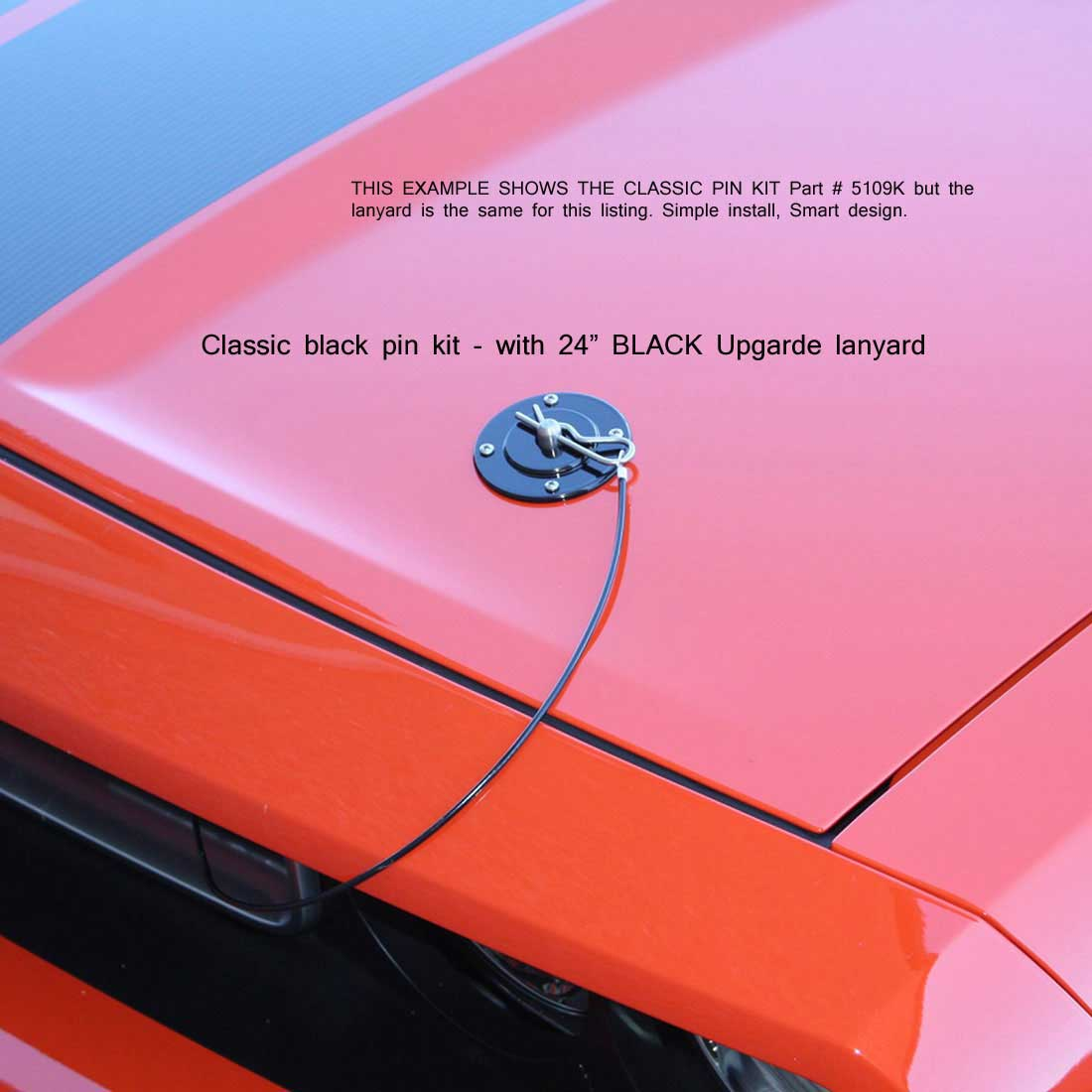 79-2014 Mustang & Universal Fit SALE Hood Pin Kit STRIKER Style W/Optional Lanyard - Polished (NO DRILLING)