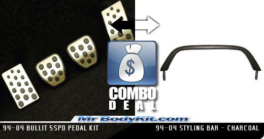 1994-2004 COMBO Bullit 5spd Pedal Kit + 94-04 Styling Bar - Charcoal