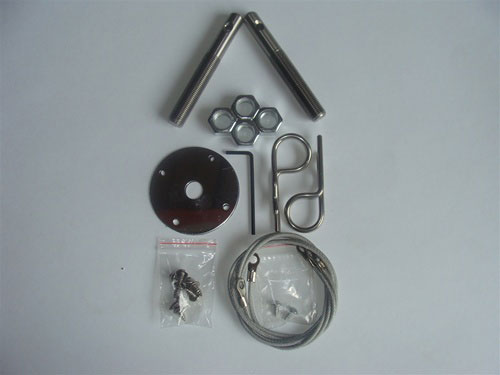 Universal Hood Pin Kit with Stainless Wire Cable Lanyard - Hair Pin Style
