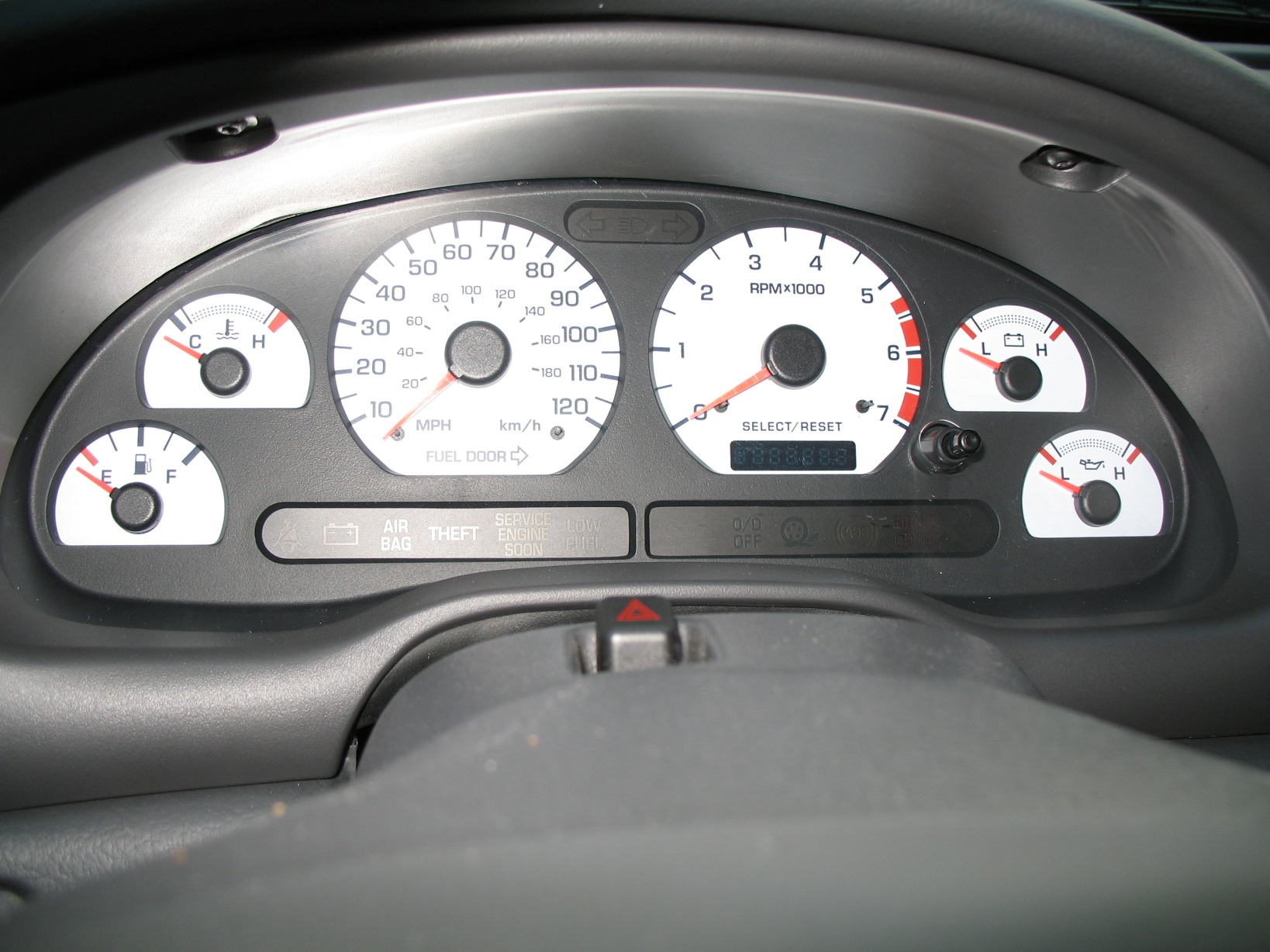 1999-2004 Mustang 3.8L White Face Gauge Kit w/ 120Mph Speedo
