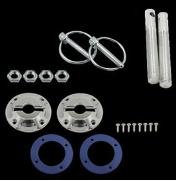 79-2014 Mustang Polished Billet Stylish Hood pin Kit w/Lanyards