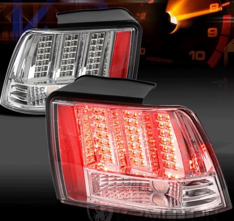 99-04 Mustang Taillights GEN 10 - LED CHROME with Built in Sequential 123 Blink (Pair)