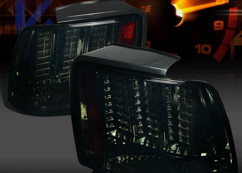 99-04 Mustang Taillights GEN 10 - LED SMOKED with Built in Sequential 123 Blink (Pair)
