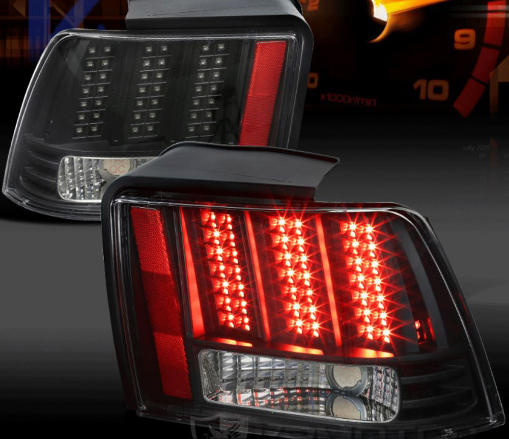 99-04 Mustang Taillights GEN 10 - LED BLACK with Built in Sequential 123 Blink (Pair)