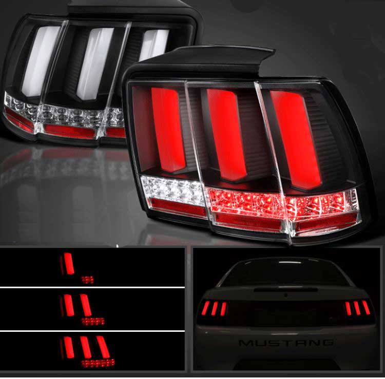 99 04 Mustang Taillights Gen 12 Black With Built In Sequential 123 Blink