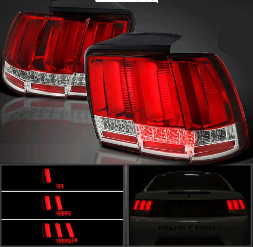 99-04 Mustang Taillights GEN 12 - RED LENS with Built in Sequential 123 Blink (Pair)