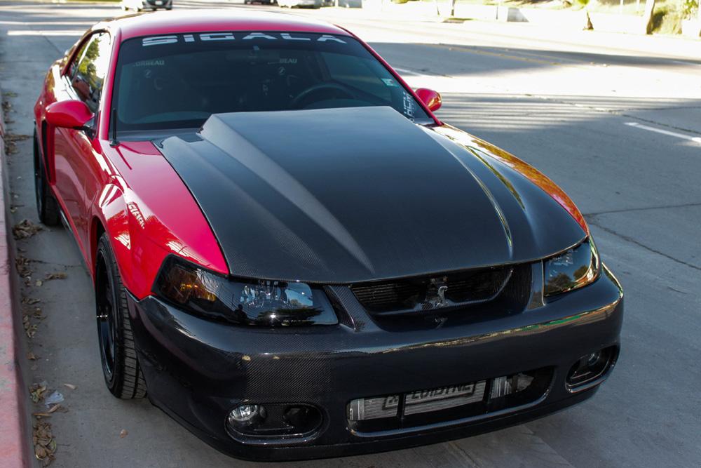 99 04 Mustang Carbon Fiber 3 Inch Cowl Hood Carbon Fiber