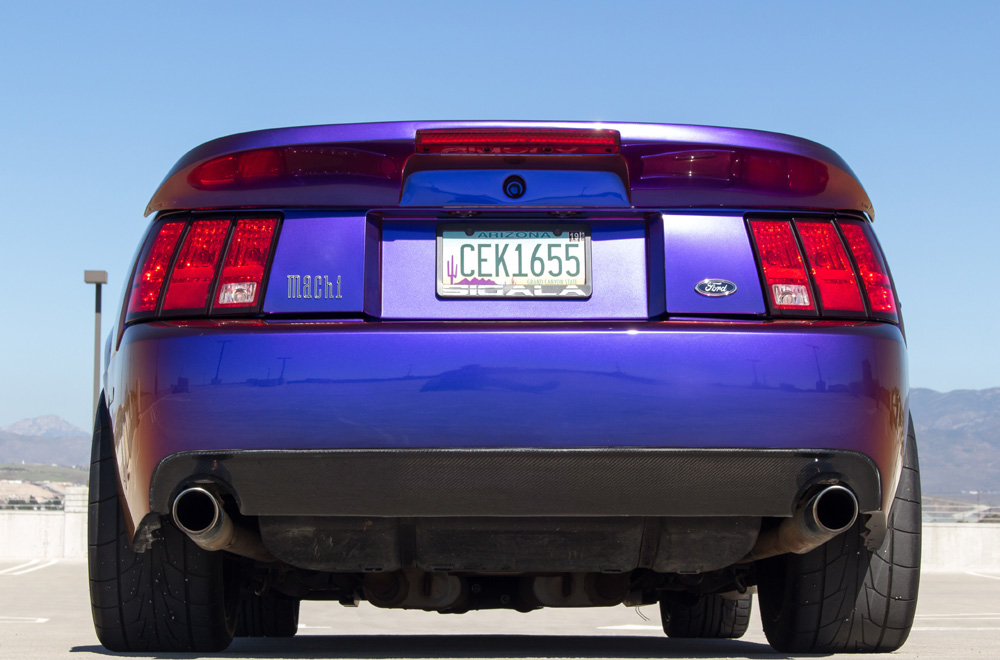 99-04 Mustang Carbon Fiber & Fiberglass Rear Bumper Cobra Style with lower CARBON FIBER LIP (COBRA LETTERING ON BUMPER)