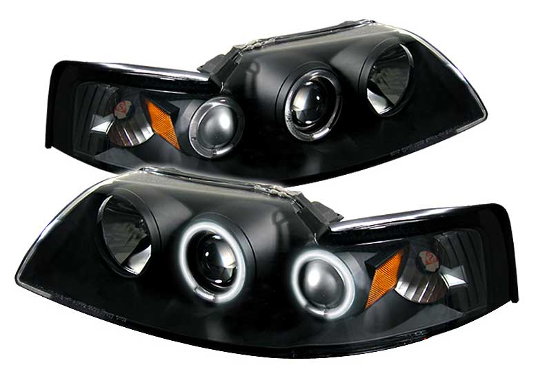 99-04 Mustang Headlights PROJECTOR Dual Angle Eyes Twin CCFL Halo GEN 2 - BLACK with CCFL Halo (Pair)