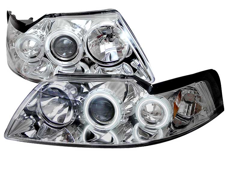 99-04 Mustang Headlights PROJECTOR Dual Angle Eyes Twin CCFL Halo GEN 2 - CHROME with CCFL Halo (Pair)