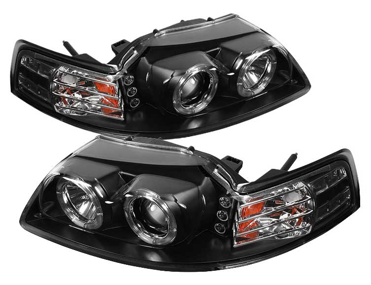 99-04 Mustang Headlights PROJECTOR Twin Halo with L.E.D - GEN 5 - BLACK (Pair)