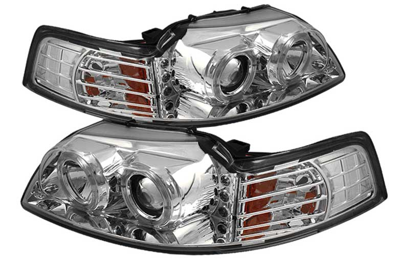 99-04 Mustang Headlights PROJECTOR Twin Halo with L.E.D - GEN 5 - CHROME (Pair)