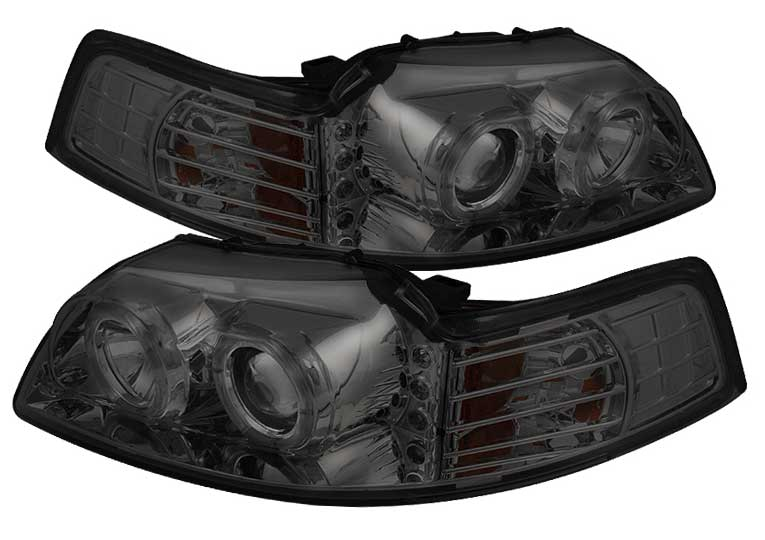 99-04 Mustang Headlights PROJECTOR Twin Halo with L.E.D - GEN 5 - SMOKED (Pair)