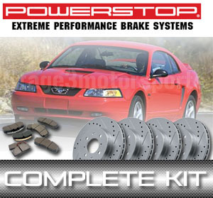 1999-2004 Mustang GT/V6 Power Stop Brake Kit - Rotors & Pads