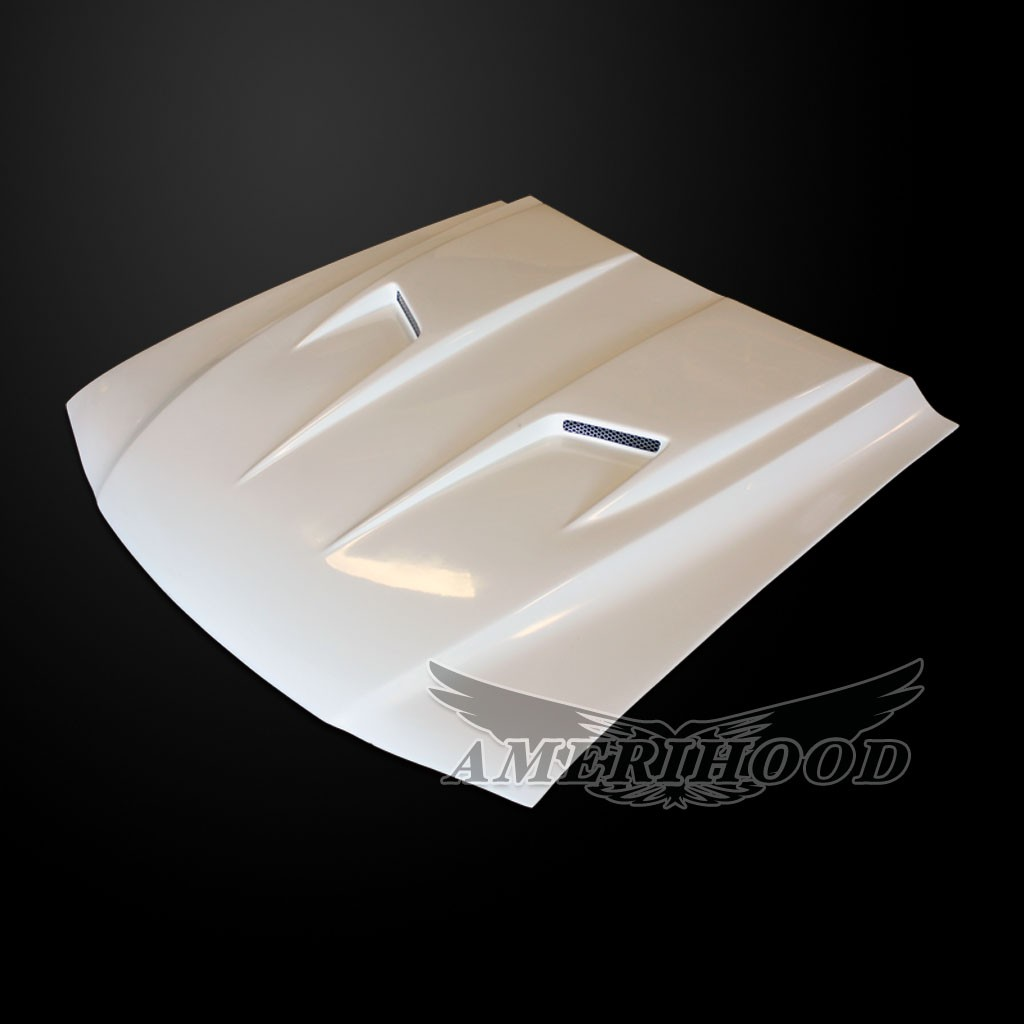 94-98 Mustang Type-3 MACH 2 Style Functional Heat Extraction Ram Air Hood by Amerihood (Fiberglass) W/Ram Air Box