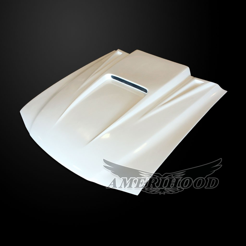 94-98 Mustang Type-5 SPYDER Style Functional Heat Extraction Ram Air Hood by Amerihood (Fiberglass) W/Ram Air Box