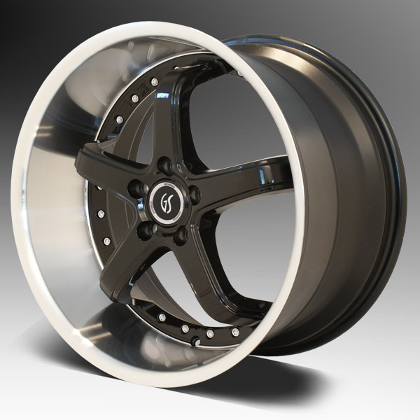 "OMEGA 1 GODSPEED - Machined Lip/Black - 5 Lug 94-14 (sizes 18x9, 18x10, 20x8.5, 20x10"" & Staggered) (NITTO TIRE OPTIONS)"