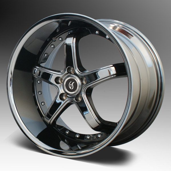"OMEGA 1 GODSPEED - BLACK CHROME - 5 Lug 94-14 (sizes 18x9, 18x10, 20x8.5, 20x10"" & Staggered) (NITTO TIRE OPTIONS)"