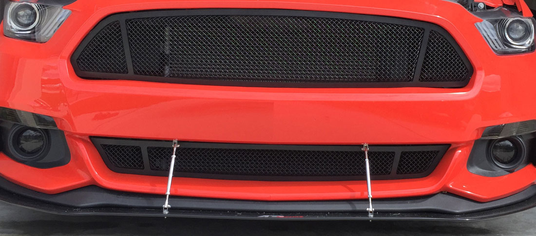 2015-2017 - Upper / Lower Full Replacement 3D Formed MESH Grilles - BLACK (GT, V6, ECO BOOST, 50th) 3 QUARTERED LOOK
