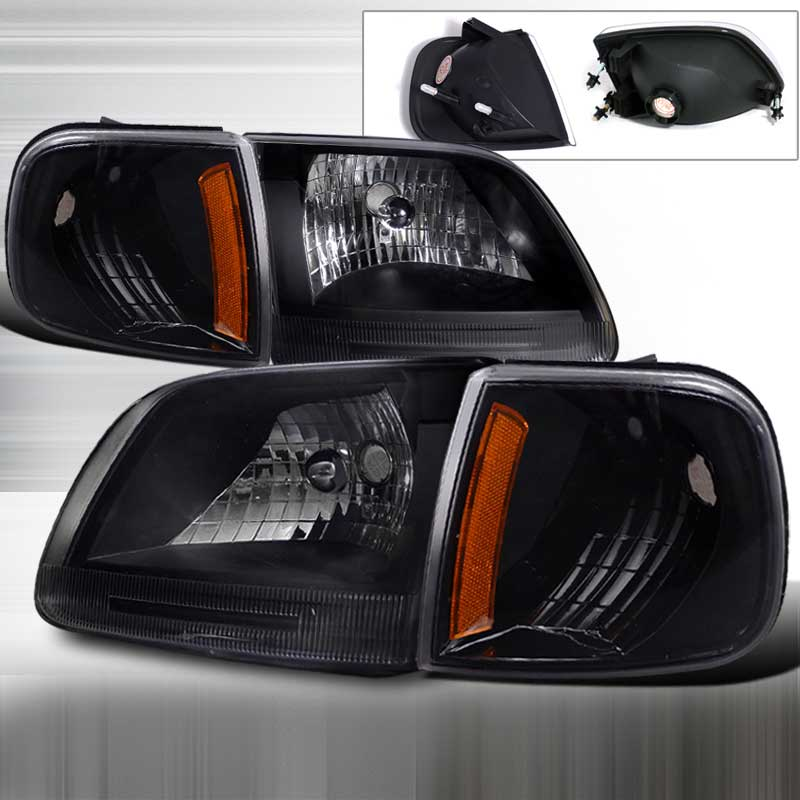 1997-2003 Ford F-150 HEADLIGHTS + CORNER LIGHTS BLACK