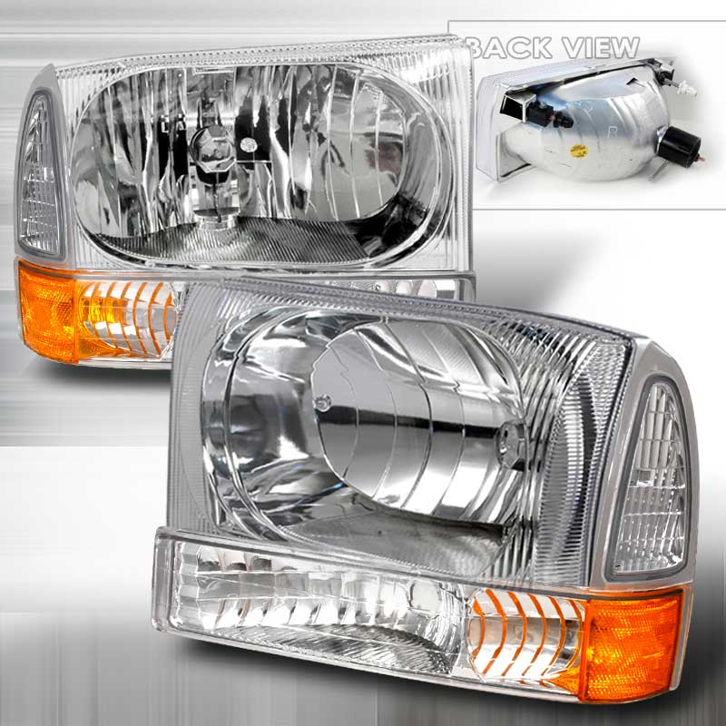 1999-2004 Ford F-250 CRYSTAL HOUSING HEADLIGHTS & CORNERS 4PC APC CHROME