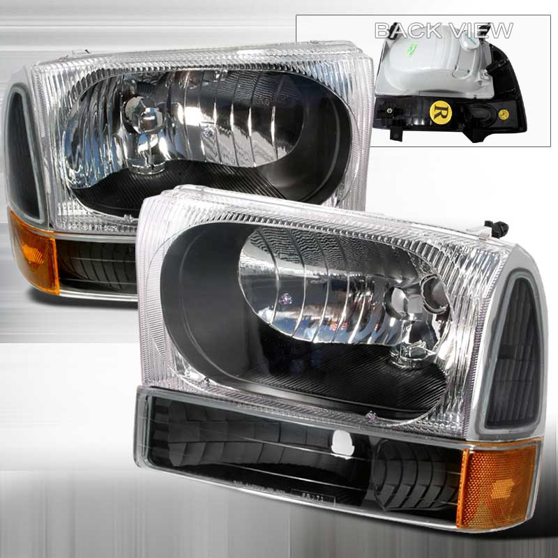 1999-2004 Ford F-250 CRYSTAL HOUSING HEADLIGHTS & CORNERS 4PC APC BLACK