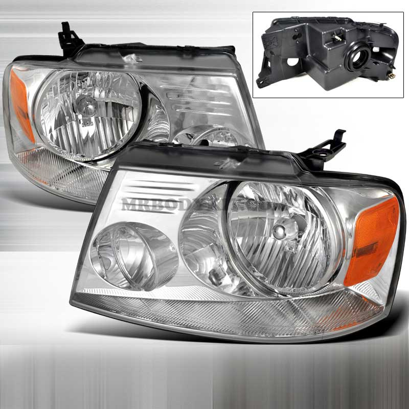 2004-2008 Ford F-150 CRYSTAL HOUSING HEADLIGHTS CHROME