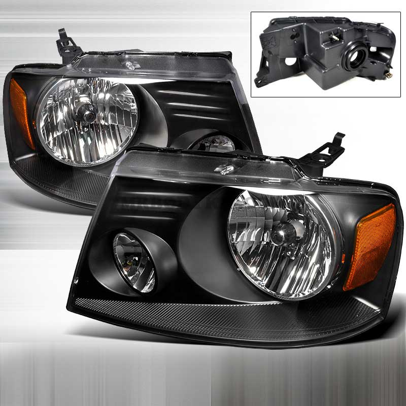 2004-2008 Ford F-150 CRYSTAL HOUSING HEADLIGHTS BLACK