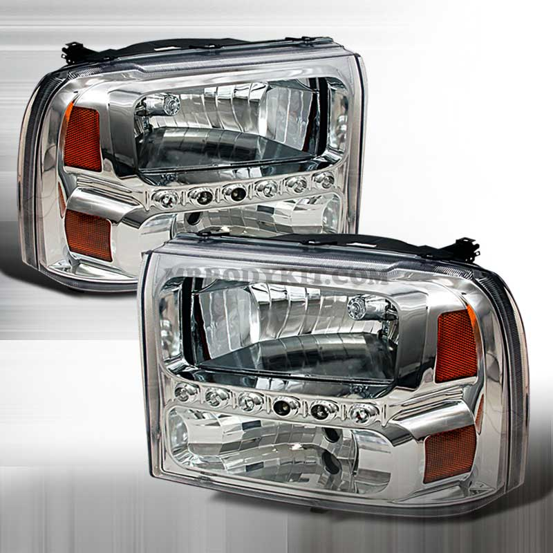 1999-2004 Ford F-250 PROJECTOR CRYSTAL HOUSING FORD EXCURSION 00-04 / SUPER DUTY 99-04 HEADLIGHTS CHROME