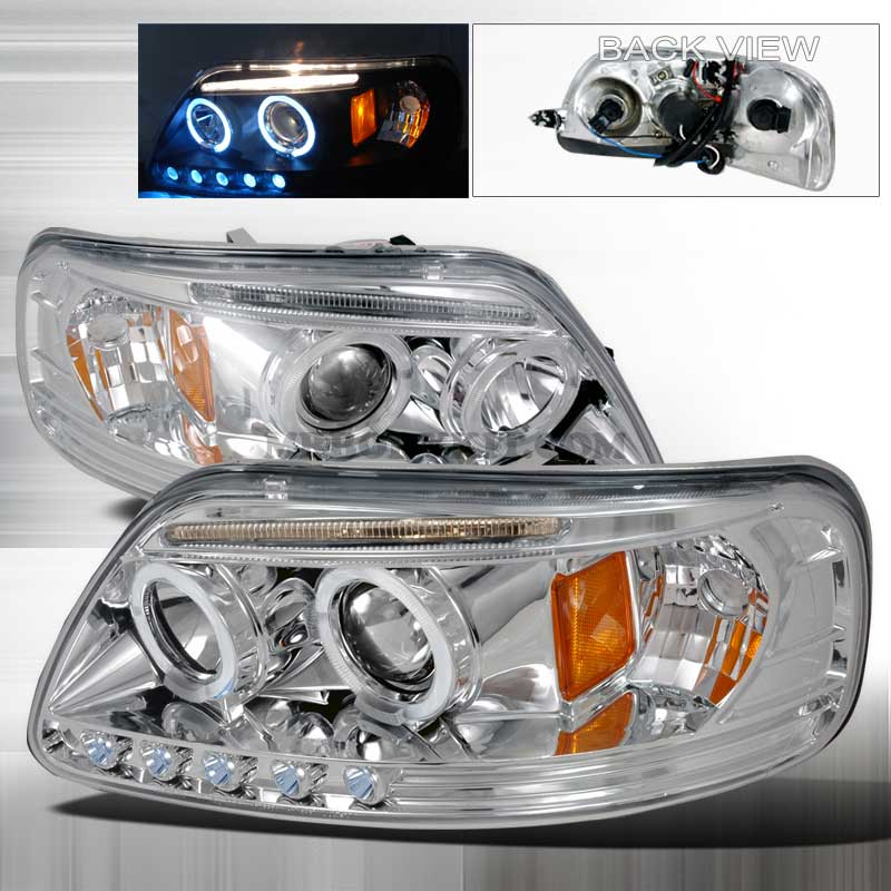 1997-2003 Ford F-150 LED PROJECTOR HALO HEADLIGHTS CHROME
