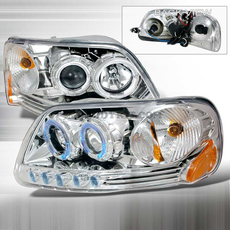 1997-2003 Ford F-150 HALO PROJECTOR HEADLIGHTS CHROME