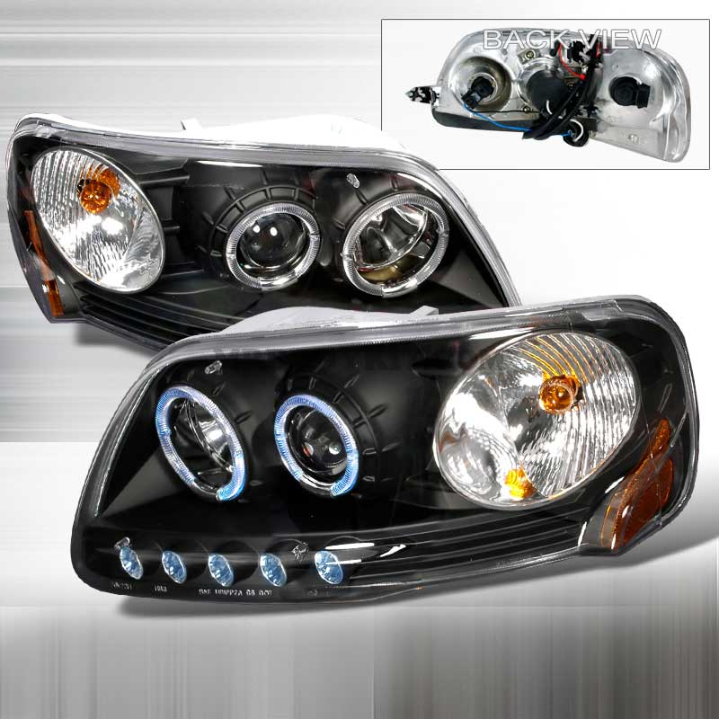 1997-2003 Ford F-150 HALO PROJECTOR HEADLIGHTS BLACK