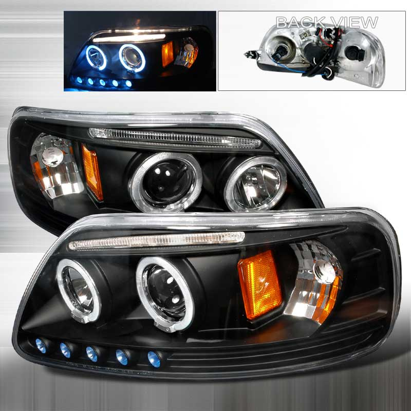 1997-2003 Ford F-150 LED PROJECTOR HALO HEADLIGHTS BLACK