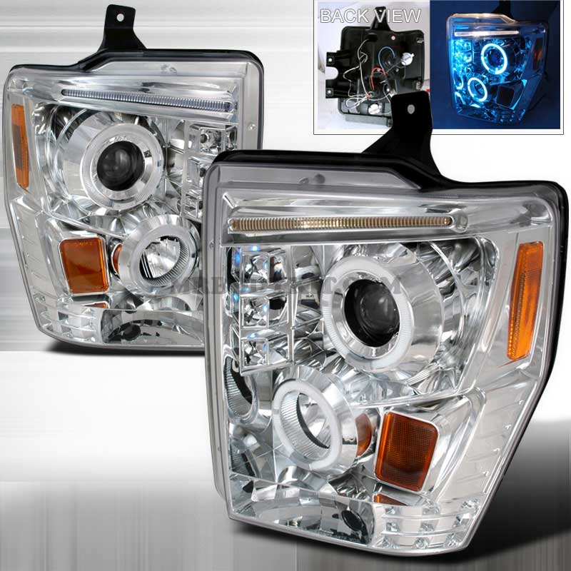 2008-2010 Ford F-250 / 350 / 450 HALO LED PROJECTOR HEADLIGHTS CHROME
