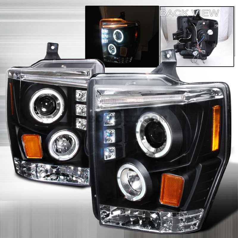 2008-2010 Ford F-250 / 350 / 450 HALO LED PROJECTOR HEADLIGHTS BLACK