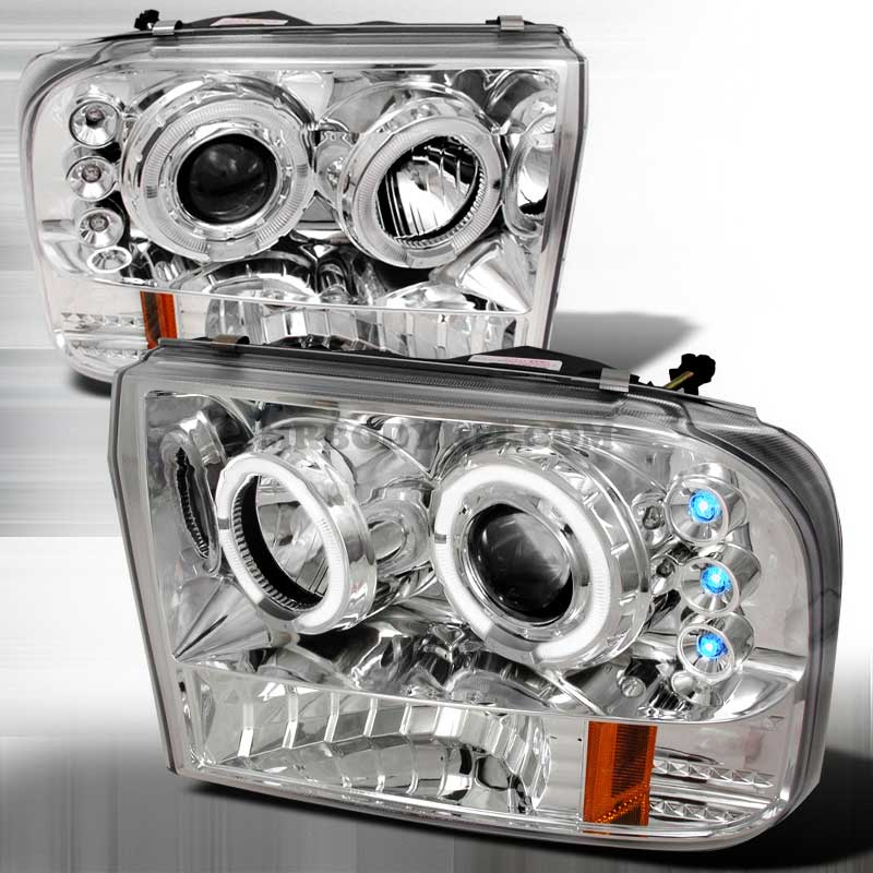 1999-2004 Ford F-250 / 350 Dual Halo LED Projector Headlights - Chrome / Clear