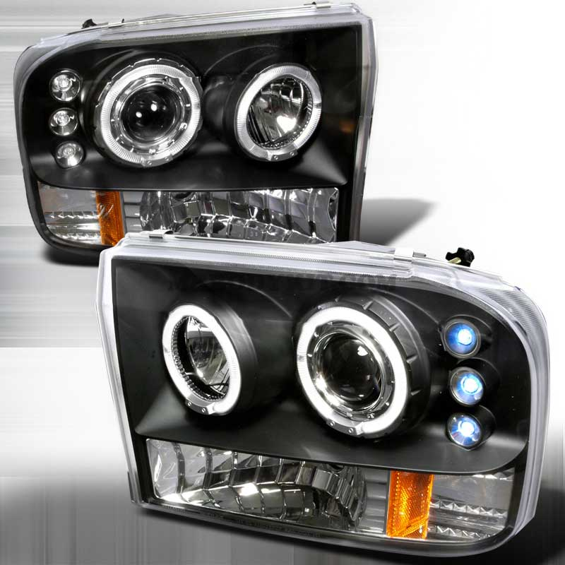 1999-2004 Ford F-250 / 350 Dual Halo LED Projector Headlights - Black / Clear
