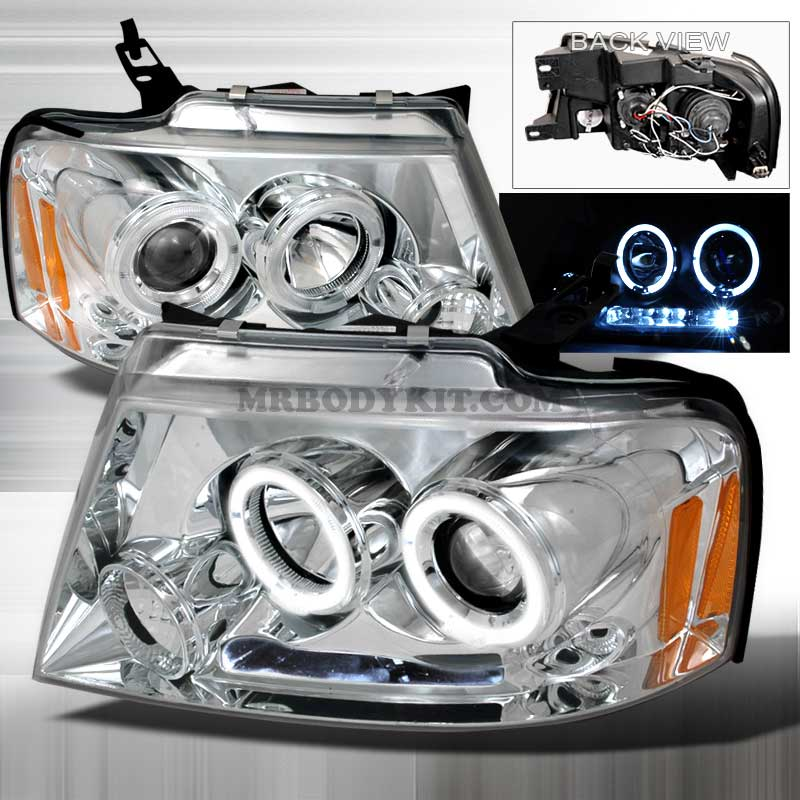 2004-2008 Ford F-150 (CCFL STYLE) HALO LED PROJECTOR HEADLIGHTS CHROME