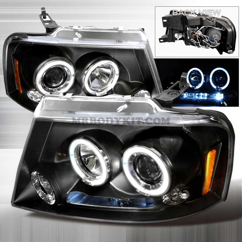 2004-2008 Ford F-150 (CCFL STYLE) HALO LED PROJECTOR HEADLIGHTS BLACK