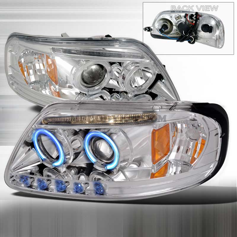 1997-2003 Ford F-150 LED PROJECTOR (CCFL) HALO HEADLIGHTS CHROME